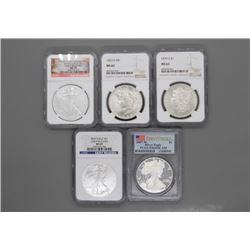 5 American Silver Dollars