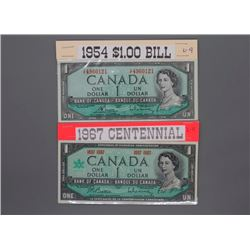 Canadian $1 and $2 bills