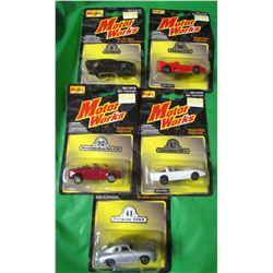 LOT OF 5 MOTORWORKS COLLECTOR CARS (DIE CAST METAL) *FIREBIRD, MERCEDES, PORSCHE, CORVETTE, FERRARI*