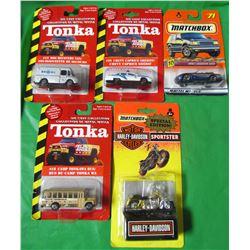LOT OF 5 ASSORTED COLLECTOR CARS (TONKA, MATCHBOX) *HARLEY DAVIDSON, SHERIFF, JAGUAR, CAMP BUS, DOG