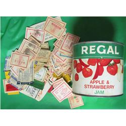 REGAL JAN TIN CONTAINING VINTAGE COUPONS (NABOB, GOLD STANDARD, ROYAL CROWN SOAPS)