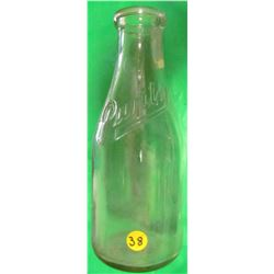 GLASS MILK CONTAINER (PURITY) *CHIP ON TOP LIP WITH SMALL CRACK STARTING FROM CHIP* (10.5 INCHES TAL