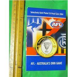 SELECTIVELY GOLD PLATED 5 DOLLAR PROOF COIN (AUSTRAILIA) *2004* (AUSTRAILIAN FOOTBALL LEAGUE) *ROYAL