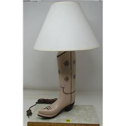 COWBOY BOOT LAMP (APPEARS TO BE HANDCRAFTED OF WOOD) *HAND PAINTED*
