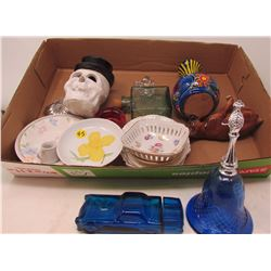 LOT OF ASSORTED GLASS ITEMS ( SAUCERS, SKULL, CONTAINERS , ETC…)