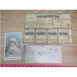 WORLD WAR II PAPER AND 1890'S ADVERTISING CARD