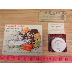"""LOT OF ASSORTED ITEMS INCLUDING A RAZOR HONE, CHOCOLATE TIN & """"BABY COMMANDER"""""""