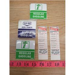 LOT OF GASOLINE DECALS