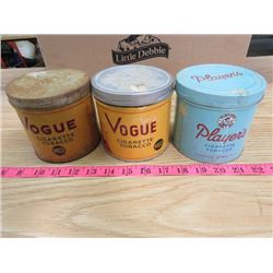 LOT OF TOBACCO TINS (2 VOGUE, 1 PLAYERS)
