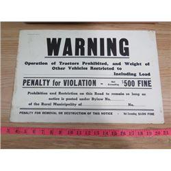 R.M. WARNING SIGN