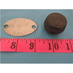 WORLD WAR II BOMB FUSE COVER & MINE RESCUE TAG