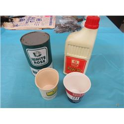 WHITE ROSE OIL TIN, WHITE ROSE OIL BOTTLE & TRACTOR CO. PAPER CUPS (OIL STILL FULL)