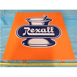 REXALL PORCELAIN SIGN (WITH MOUNTING TABS)