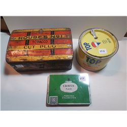 LOT OF TOBACCO TINS (HOUDES, TOP AND CRAVEN)