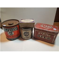 LOT OF 4 TOBACCO TINS (ZIG ZAG AND THREE OTHERS)
