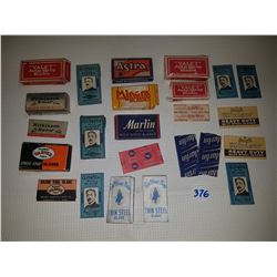 LOT OF RAZOR BOXES AND WRAPPERS (WITH RAZORS)