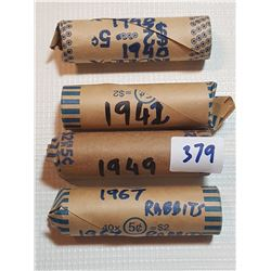 4 FULL ROLLS OF FIVE CENT COINS (1940, 42, 49, 67)