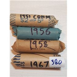 4 FULL ROLLS OF FIVE CENT COINS (1951 COMM, 56, 58, 67)