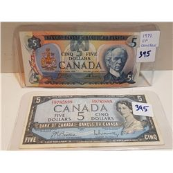 TWO 5 DOLLAR BILLS (1954, 1979)