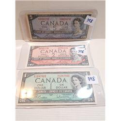 LOT OF 1 DOLLAR, 2 DOLLAR AND 5 DOLLAR BILLS (1954)