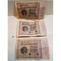 LOT OF 3 LARGE GERMAN 10,000 MARK BILLS (1923)