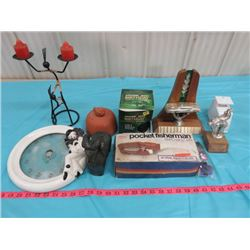 LOT OF ASSORTED ITEMS INCLUDING CANDLE HOLDER, POCKET FISHERMAN SPIN CASTING OUTFIT, ETC.