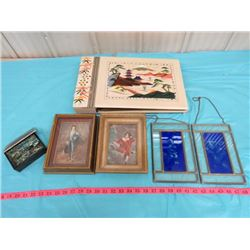 LOT OF PICTURES, MUSICAL PHOTO ALBUM AND DECORATIVE BOX