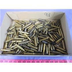 BOX OF SPENT SHELLS (VARIOUS CALIBERS-.303, .222, 7MM, 25.06, 243, ETC…)