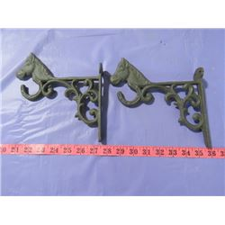 TWO METAL HORSE HOOKS