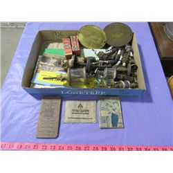 LOT OF ASSORTED ITEMS INCLUDING STATIONARY ENGINE OILERS, SPARK PLUGS, ETC. (PARTS ONLY)