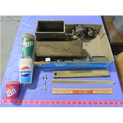 JUNK DRAWER INCLUDING LEAD MOLDS, ADVERTISING CUPS, ETC. (INCLUDES NON-FERRIS MOLD-STAMPED GENUINE N