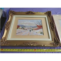 "LOT OF 3 PICTURES (2 WINTER SCENES, 1 SUMMER) *ONE PICTURE BY M. LENOIR* (21"" X 17"", 20"" X 16"", 21"""