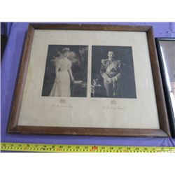 LOT OF 3 ROYALTY PICTURES (QUEEN MARY & KING GEORGE V, QUEEN ELIZABETH & PRINCE PHILIP)