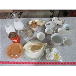 LOT OF ASSORTED GLASSWARE INCLUDING 5 FIRE KING SAUCERS, 3 INSULATORS, SMALL REPLICA JUG, ETC.