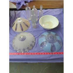 LOT OF ASSORTED LAMP SHADES, GLASS BOTTLES AND A BOWL