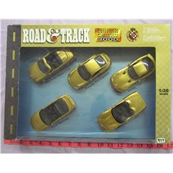 BOX OF 5 TOY CARS (ROAD AND TRACK) *1:38*