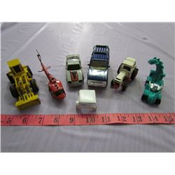 LOT OF 6 TOY CARS AND CONSTRUCTION TOYS