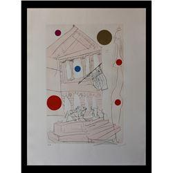 "Salvador Dali- Original Etching with color ""The Art Institute"""