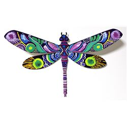 "Patricia Govezensky- Original Painting on Cutout Steel ""Dragonfly XVI"""