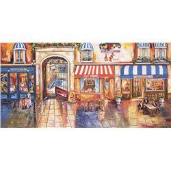 """Alexander Borewko- Original Giclee on Canvas """"Street Restaurants"""""""