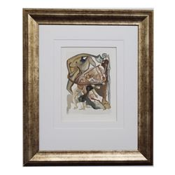 "Salvador Dali- Original Color Woodcut on B.F.K. Rives Paper ""Hell Canto 4"""