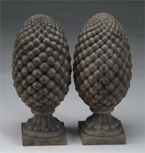 Pair Of Carved Wooden Over Size Pineapple Finials