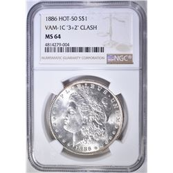 1886 MORGAN DOLLAR  NGC MS-64 HOT-50