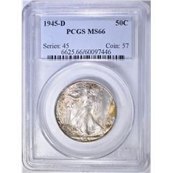 1945-D WALKING LIBERTY HALF DOLLAR  PCGS MS-66
