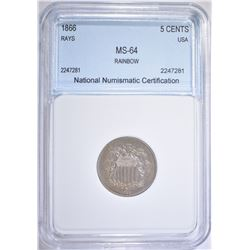 1866 RAYS SHIELD NICKEL   NNC   CH BU
