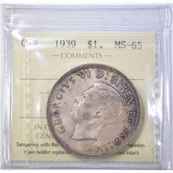 1939 SILVER DOLLAR CANADA  ICCS GEM BU