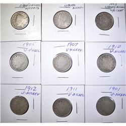9 LIBERTY NICKELS SOME BETTER DATES