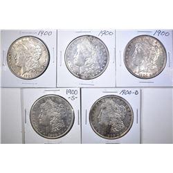 5 MORGAN SILVER DOLLARS MOSTLY AU-BU