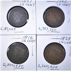 4 LARGE CENTS VG-VF SOME PROBLEMS