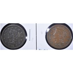 1845 & 46 LARGE CENTS XF